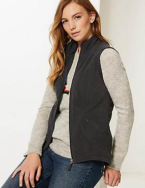 Funnel Neck Gilet, CHARCOAL, catlanding