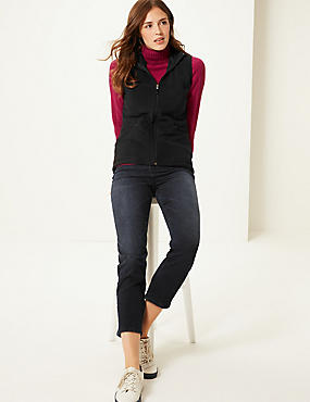 Funnel Neck Gilet, BLACK, catlanding