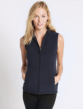 Funnel Neck Fleece Gilet Coat