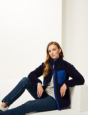 Zipped Through Funnel Neck Fleece Jacket , NAVY, catlanding