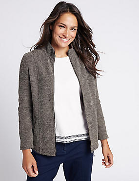 Boucle Fleece Jacket, GREY, catlanding