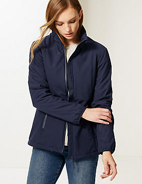 Funnel Neck Fleece Jacket with Stormwear™, NAVY, catlanding