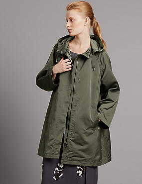Satin Hooded Parka with Showerproof