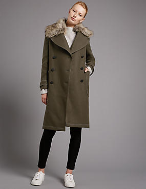 Collared Neck Wool Blend Overcoat