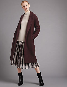 Boucle Belted Overcoat with Wool