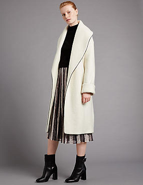 Wool Blend Tipped Belted Overcoat