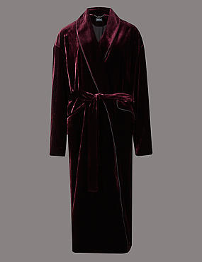 Piped Velvet Coat with Silk