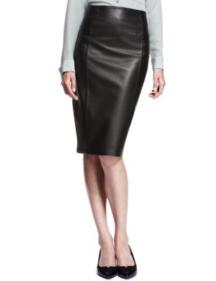 Leather Panelled Pencil Skirt | M&S