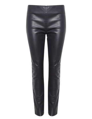 Slim Leg Leather & Ponte Knit Trousers Clothing