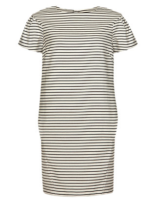 Pure Cotton Woven Striped Shift Dress Clothing