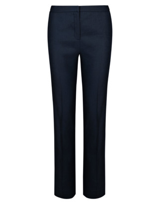 Linen Blend Slim Leg Trousers Clothing