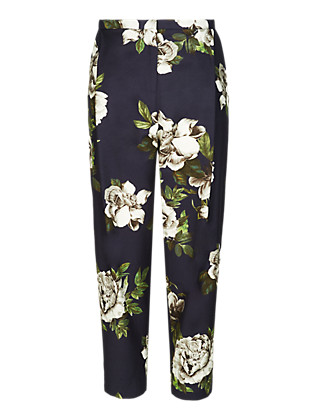 Luxury Cotton Rich Floral Cropped Trousers Clothing