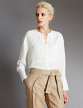 Pleated Bib Front Blouse