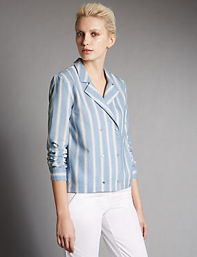 Wide Striped Blouse with Linen
