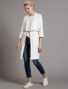 Pure Cotton Kimono Cardigan with Belt