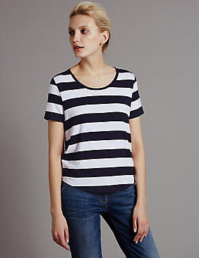 Shaped Hem Striped Top