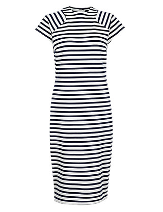 Striped Midi Dress Clothing