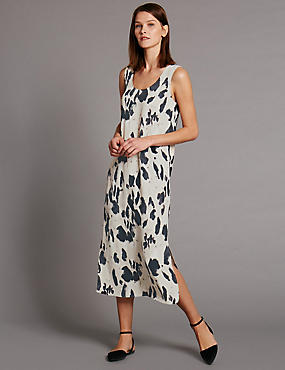 Loose Fit Animal Print Shift Dress
