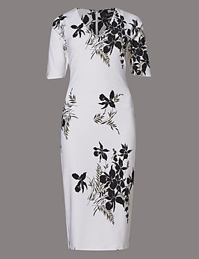 Oriental Floral Scuba Shift Dress