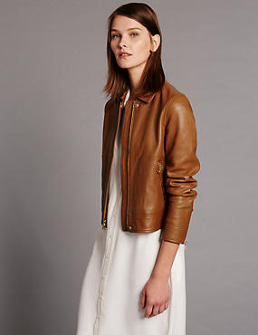Leather Zip Through Jacket