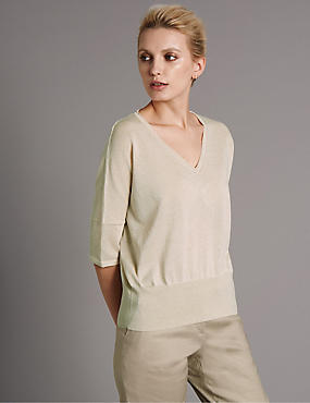 V-Neck Jumper with Linen