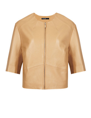 Leather Boxy Biker Jacket Clothing
