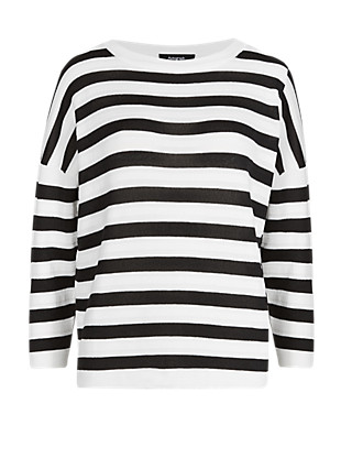 3/4 Sleeve Striped Pleated Jumper Clothing