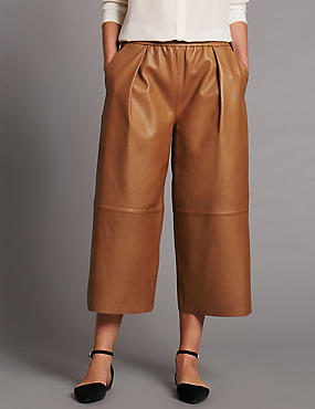 Leather Wide Leg Cropped Trousers