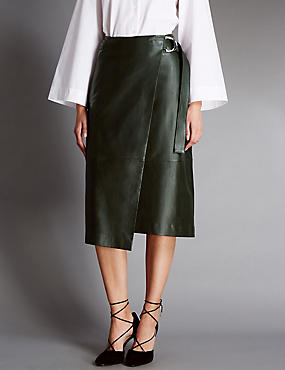 Leather Belted A-Line Wrap Skirt