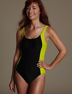 Post Surgery Colour Block Sporty Swimsuit with Chlorine Resistant