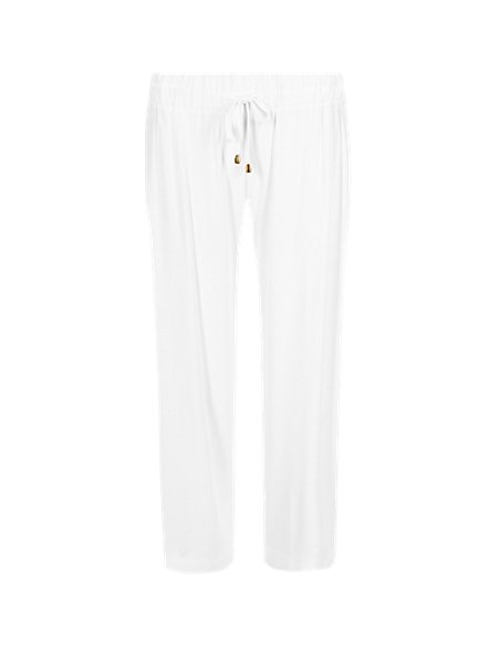Wide Leg Cropped Beach Trousers