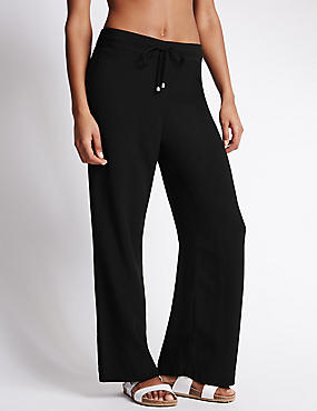 Wide Leg Crêpe Beach Trousers