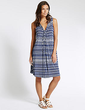 Ikat Print Swing Fit Vest Shift Dress with Cool Comfort™ Technology
