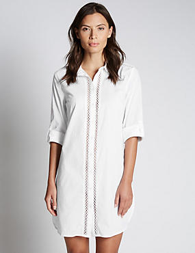 Pure Cotton Insert Shirt Dress with StayNEW™