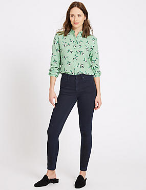 Embroidered Hem Mid Rise Slim Fit Jeans