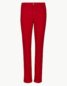 Mid Rise Slim Fit Jeans, RED, catlanding