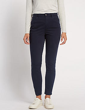 Cotton Rich Sateen Skinny Trousers