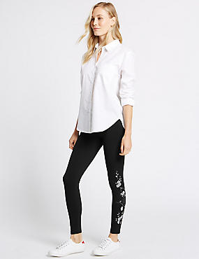 Cotton Rich Embroidered Leggings