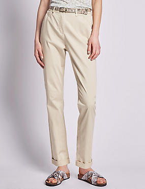 Roma Rise Cotton Rich Straight Leg Chinos with Belt