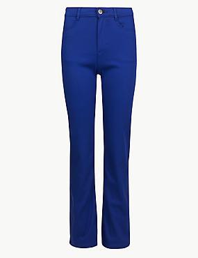 Sateen Roma Rise Straight Leg Jeans, DARK BLUE, catlanding