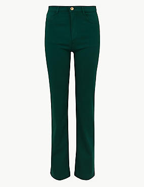Sateen Roma Rise Straight Leg Jeans, FOREST GREEN, catlanding