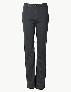 Sateen Roma Rise Straight Leg Jeans, GREY MIX, catlanding
