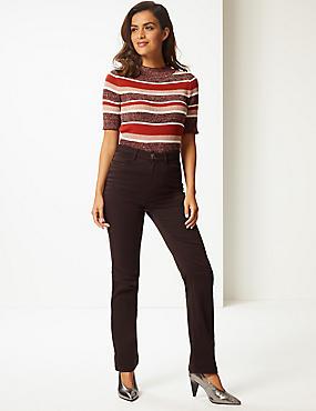 Straight Leg Roma Rise Jeans , CHOCOLATE, catlanding
