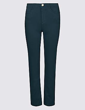 Straight Leg Roma Rise Jeans , PETROL, catlanding