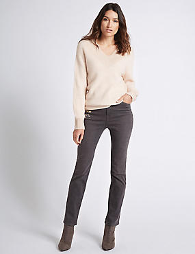 Embroidered Roma Rise Straight Leg Jeans