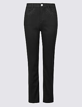 PETITE Roma Rise Straight Leg Jeans, BLACK, catlanding