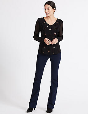Sateen Roma Rise Bootcut Jeans, INDIGO, catlanding