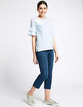 Sculpt & Lift Roma Rise Cropped Jeans , MEDIUM BLUE, catlanding