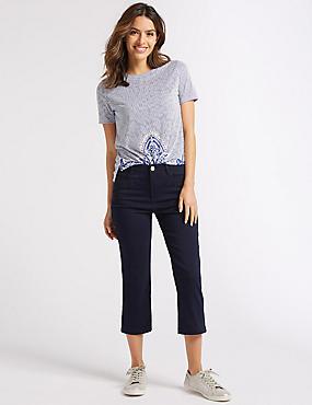 Embellished Straight Leg Cropped Jeans, INDIGO, catlanding