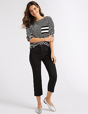 Embellished Straight Leg Cropped Jeans, BLACK, catlanding